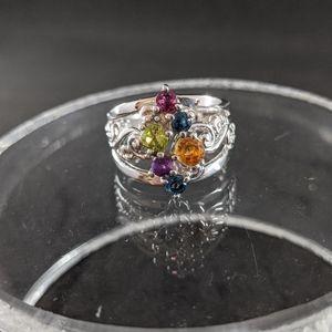 Carolyn Pollack multi faceted gemstone ring